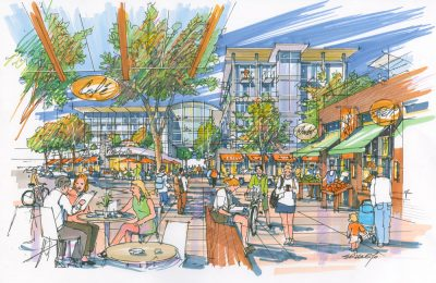 Concept art for TRU's new neighbourhood The Reach, which won't include new student housing. (The Reach)