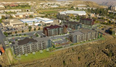 This rendering shows what the buildings in the development may look like. McGill Housing and campus can be seen on the right. (City of Kamloops)