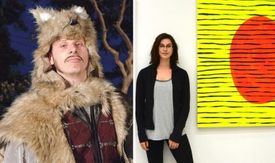 Andrew Cooper, seen during an X Fest show in 2015 (left), and Kathleen Lochhead, seen at her exhibit at Padlock Studios in 2016 (right), were both nominated along with Robin Hodgson, co-creator of Padlock Studios, for awards for Mayor's Gala of the Arts Awards. (File photos)