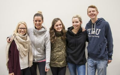 Second year social work students Codi Bergen, Ashley Martell, Mandy Foord, Nicola Falk and Hayley Wuschke are working to raise awareness about systemic causes of homelessness. (Sarah Kirschmann/The Omega)